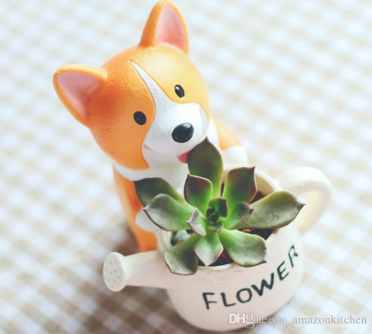Cute Plant Pots Part - 43: Online Cheap Corgi Cartoon Succulent Bonsai Micro Landscape Plant Flower  Pot Cute Creative Home Deco Resin Dog With Short Legs Planters By  Amazonkitchen ...