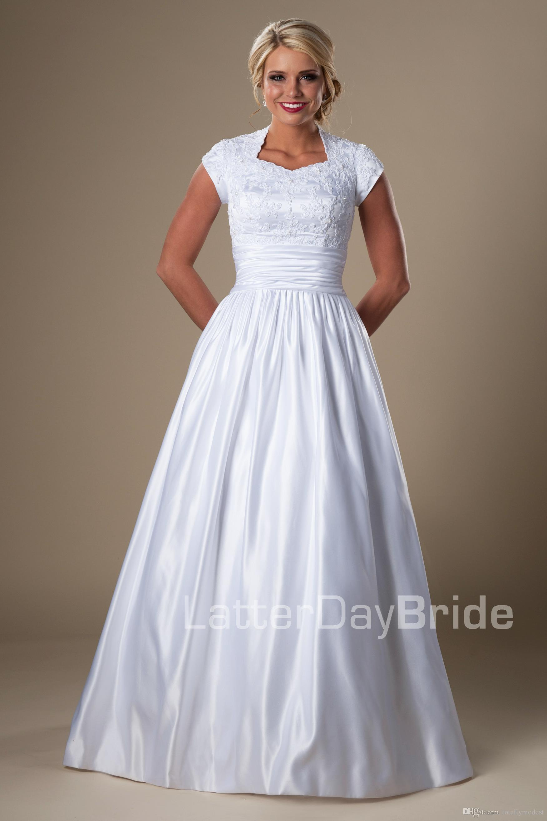 cheap modest wedding dresses simple modest sleeves wedding dresses with cap 2621