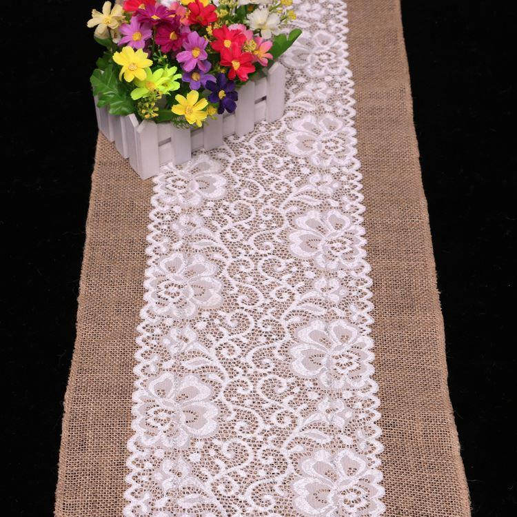 30cm*180cm Burlap Table Runner Wedding Decoration Deco Linen Table Cloth  Lace Doily Table Runner Natural Jute Home Party Silk Table Runners Silver  Table ...