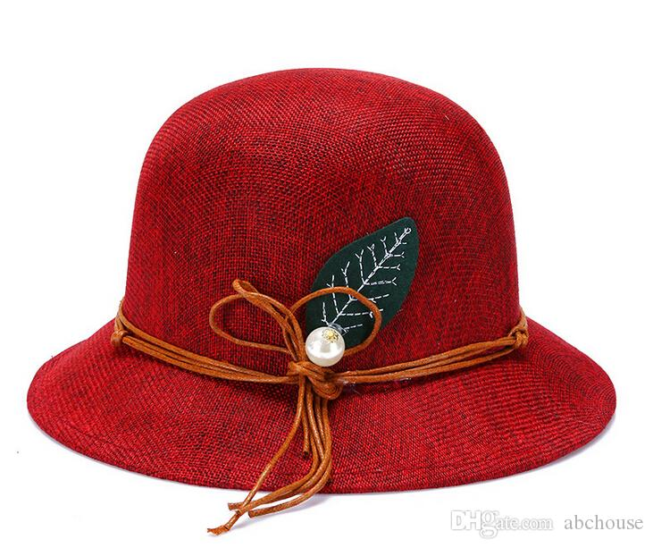New Fashion Women Flax Flower Hat Bowler Billycock Cap Newly Design 2016 Hot Sales Cheap Nice