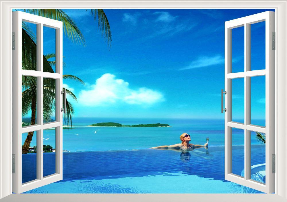 3d Sunshine Beach Palm Swimming Window View Removable Wall Art Stickers Vinyl Decal Home Decor