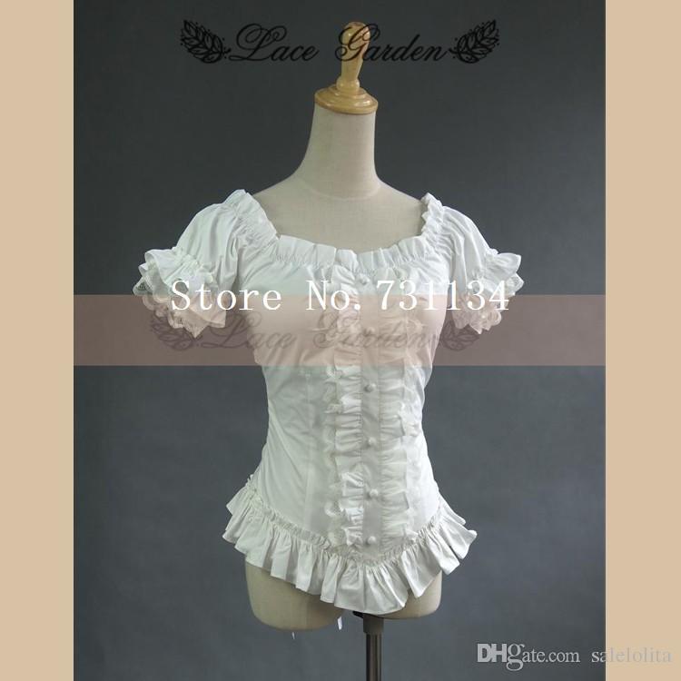 090aff2842d4bb 2019 Vintage Royal Ruffle Puff Sleeve 100% Cotton White Lolita Short Blouse  Shirt From Salelolita, $27.14   DHgate.Com