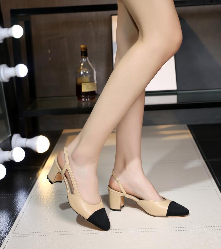 2016 Pequeño chili verano femenino con sandalias de cuero con hueco Baotou hueco pequeño olor fragante viento color grueso con zapatos