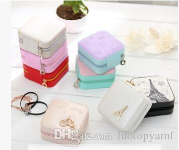 Fashion Mini Jewelry Box Travel Leather Cosmetic Casket Ring Earring Lipstick Organizer Gift for Girl Mirror Makeup Box
