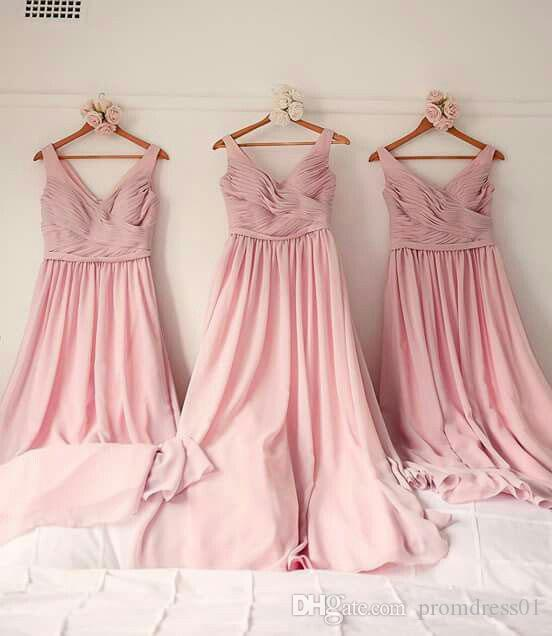 Hot Sell Pink V Neck Soft 30D Chiffon Bridesmaid Dresses Ruched In Stock for Wedding Party
