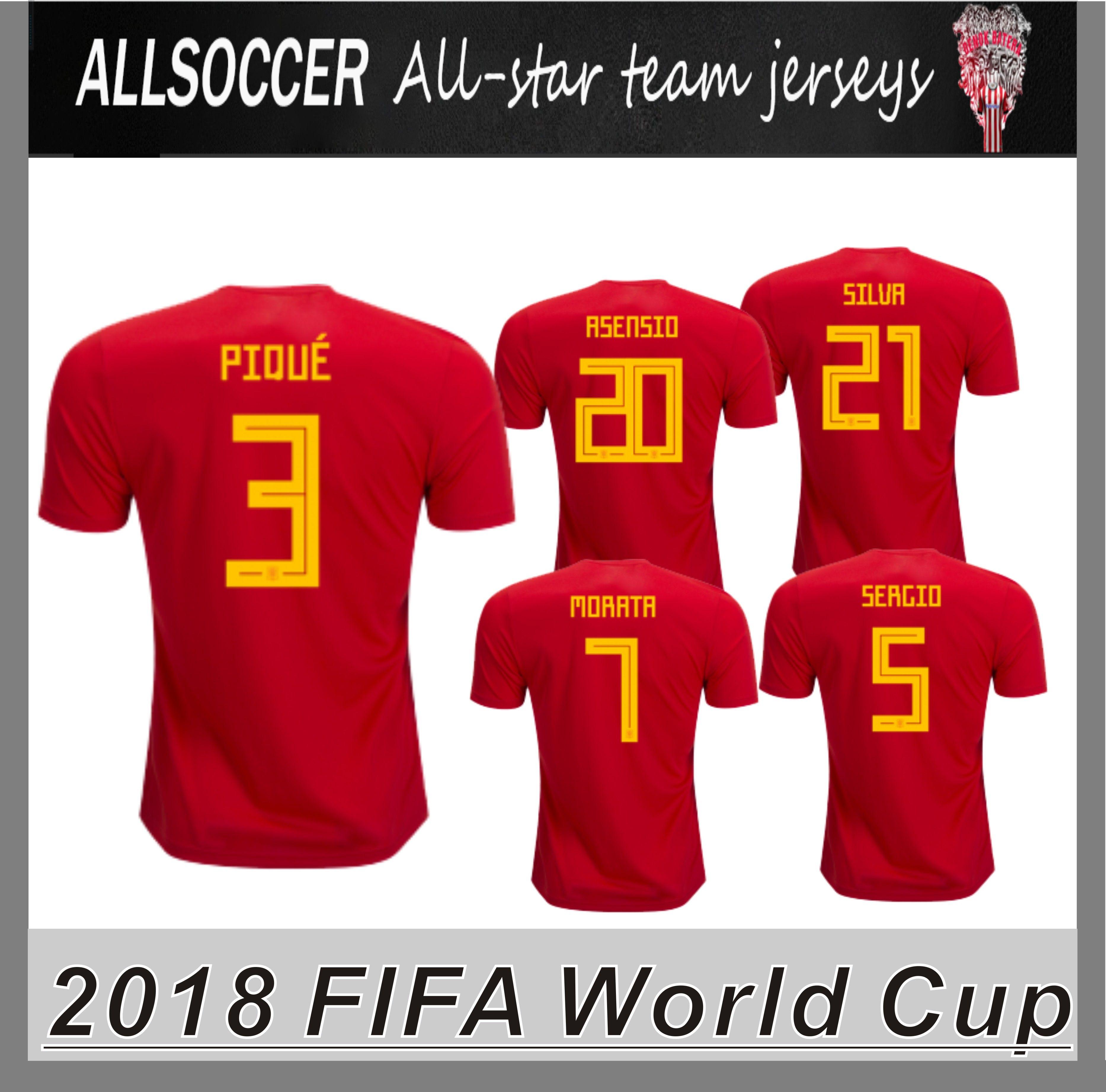 Copa Mundial 2018 JERSEYS España Inicio Camisetas De Fútbol Marco Asensio  Pique ISCO Andrés Iniesta Sergio Ramos Alvaro Morata Sergio Busquets Por  Allsoccer ... 1fb4594c5e2