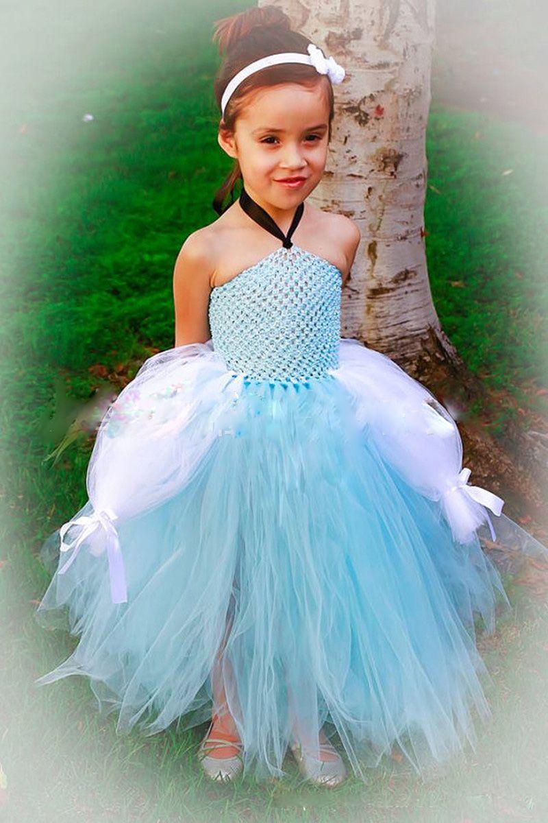 Fuchsia Tutu Skirt Flower Girls' Dresses A Line Strapless Floor Lenth Mint Green Wedding Party Gown Tulle Todddler dress Girl Pageant Dress