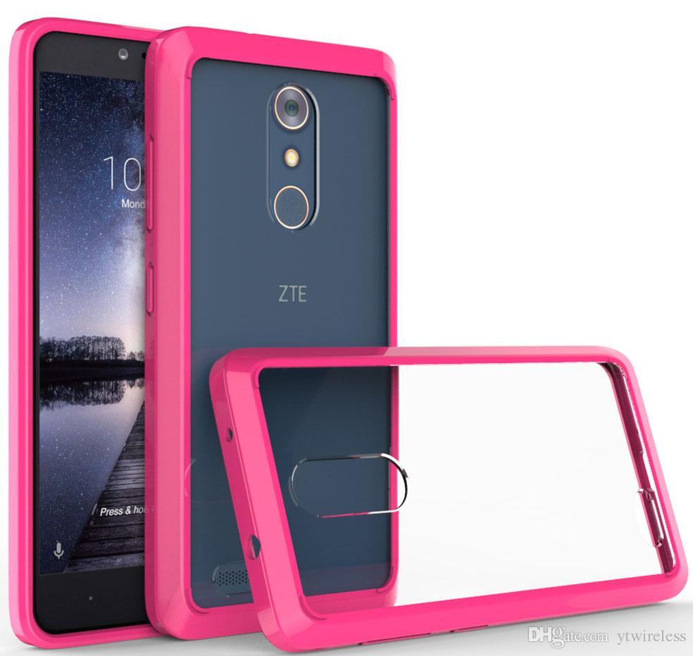 best service b57f4 8c52a For Alcatel Fierce 4 Stellar Tru ZTE Zmax Pro Z981 Samsung On5 G550 Coolpad  3623A TPU Acrylic Phone Case Metropcs Clear Hard Cover