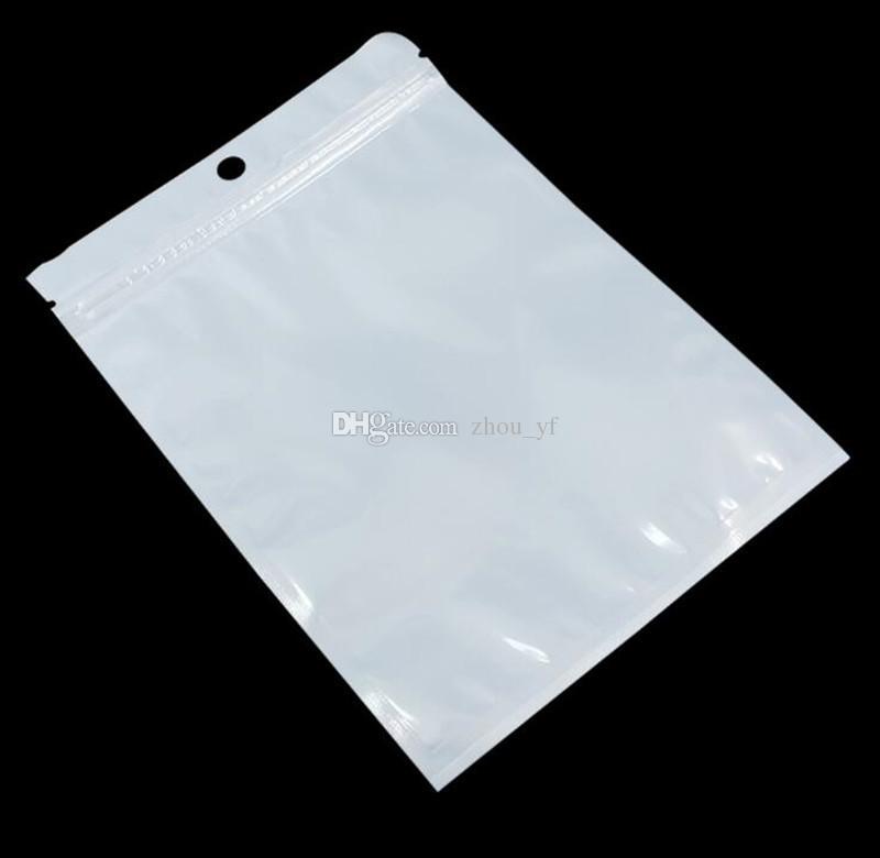 Temizle Beyaz Inci Plastik Poli Çanta OPP Ambalaj Fermuar Kilit Paketi aksesuarları PVC Perakende Kutuları USB Flash Samsung için El Delik Cep Telefonu