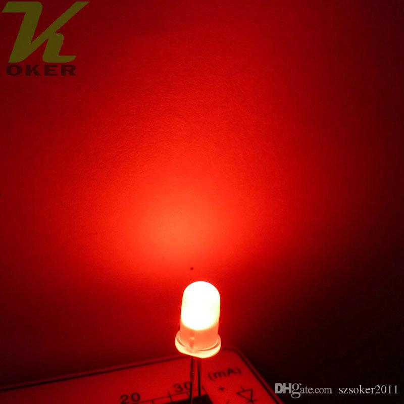 5mm 빨간색 확산 LED 조명 램프 방출 다이오드 안개가 자욱한 울트라 밝은 비드 플러그인 DIY 키트 연습 광각