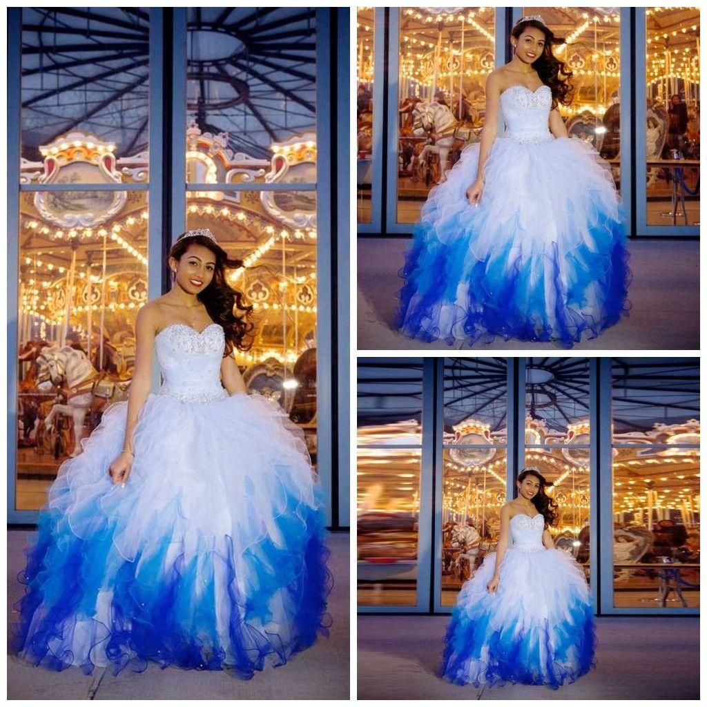 a10cb4ce2 Lentejuelas con cuentas Cariño Quinceañera Vestidos Bastante azul degradado  en cascada con volantes Vestido de fiesta Puffy piso gradas vestido de ...