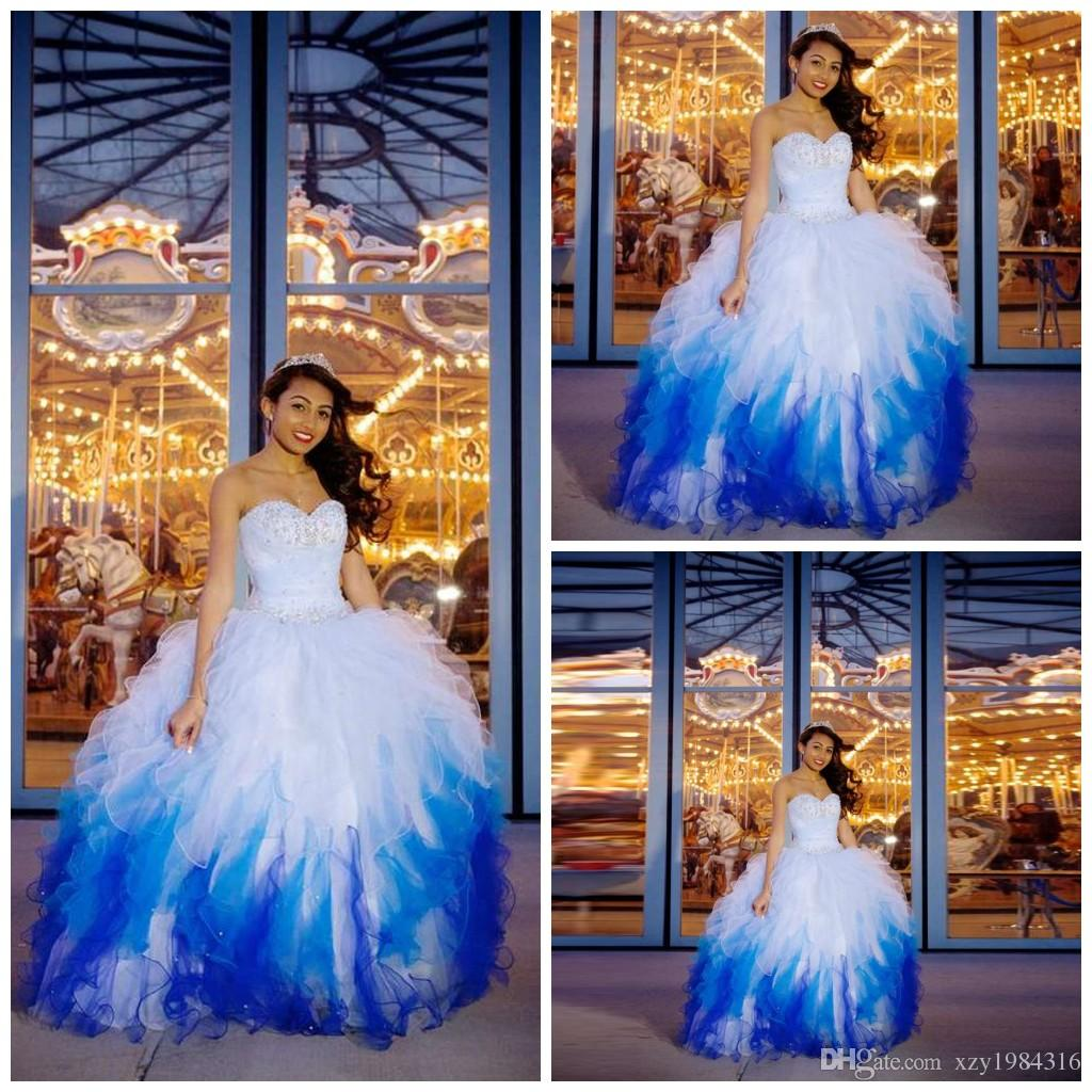 White and blue sequin prom dress