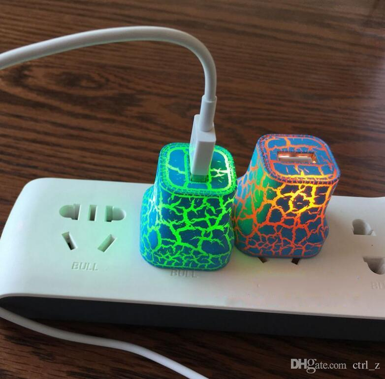 Luzes Up EUA Plug Charger 5 V / 1A USB LEVOU Para Casa de Viagem Carregador AC Carregador de Parede de Parede Adaptador De Energia Rachada À Moda