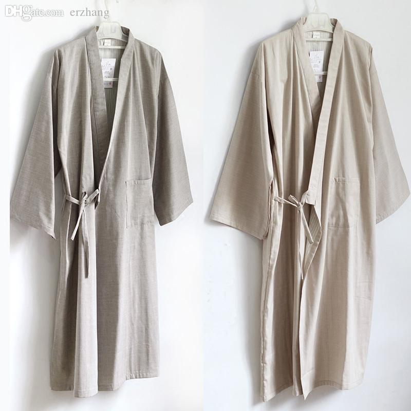Wholesale-100% Cotton Yukata Japanese Kimono Style Mens Nightgown Robes Men  Dressing Gown Bathrobe Sleepwear Lounge Home Clothing Pyjama Gown Store  Gowns ... 761a71979