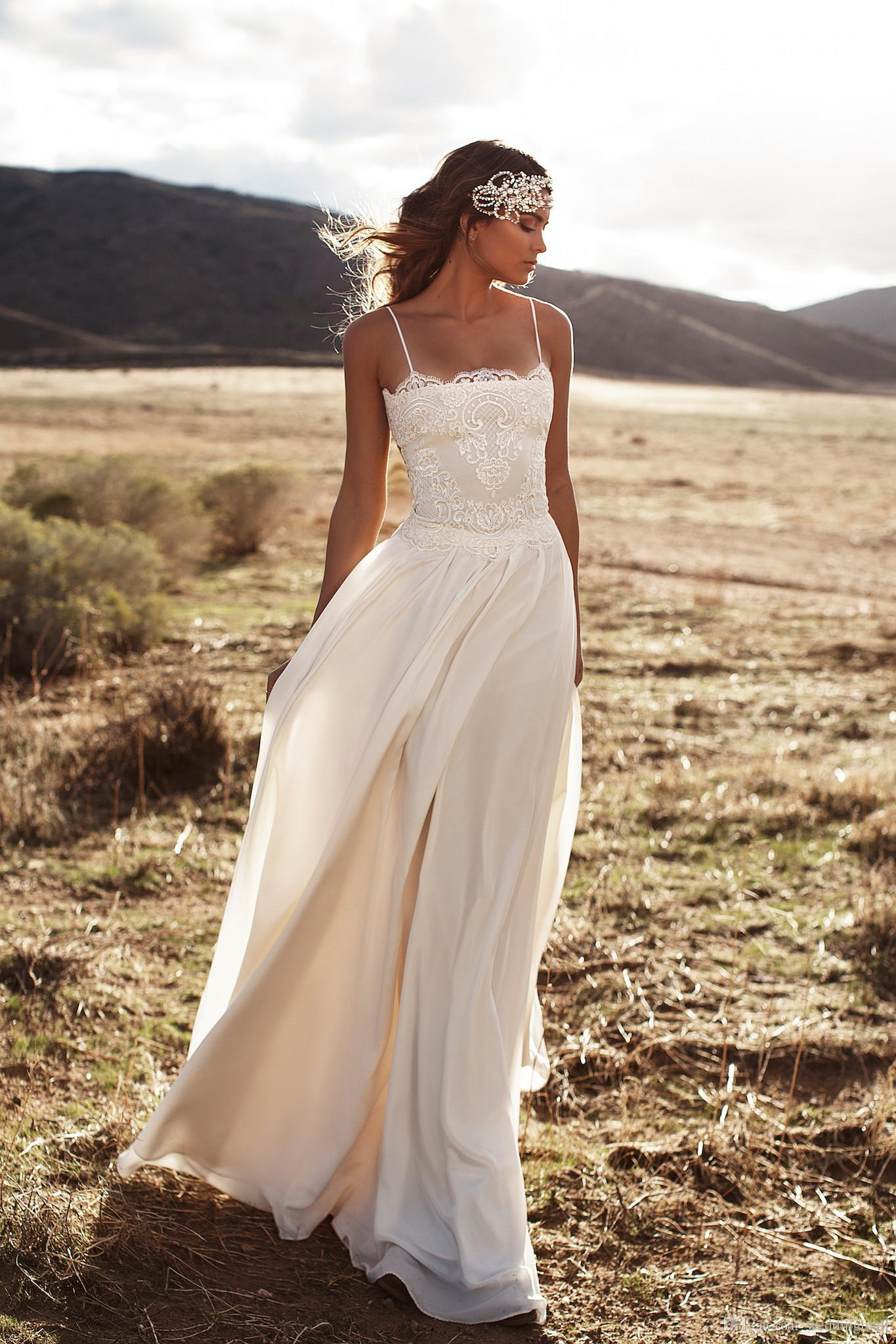 2016 New Summer Wedding Dresses Spaghetti Straps Lace Chiffon Floor Length A-Line Bridal Gowns Beach Simple Plus Size Cheap Wedding Gowns