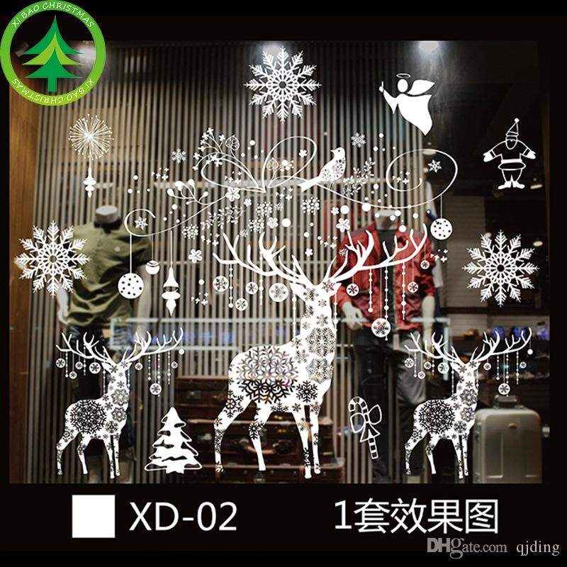 christmas plastic electrostatic stickers 5472cm random style christmas window decoration christmas decorations vip price for large order xmas house