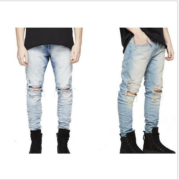 3026bac98 Compre REPRESENT Calça Mens Coreano Roupas De Grife Moda Jeans Macacão  Preto / Azul Claro Magro Destruído Rasgou Jeans Angustiado De Orientalwedo,  ...