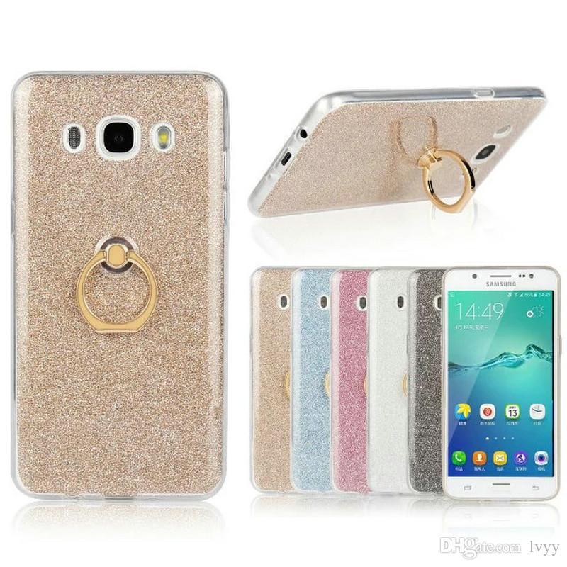 Samsung galaxy için G530 J1 J3 J5 J7 2016 A310 glitter bling TPU yumuşak ultra ince cep telefonu koruyucu arka kapak kılıf ile parmak yüzük toka