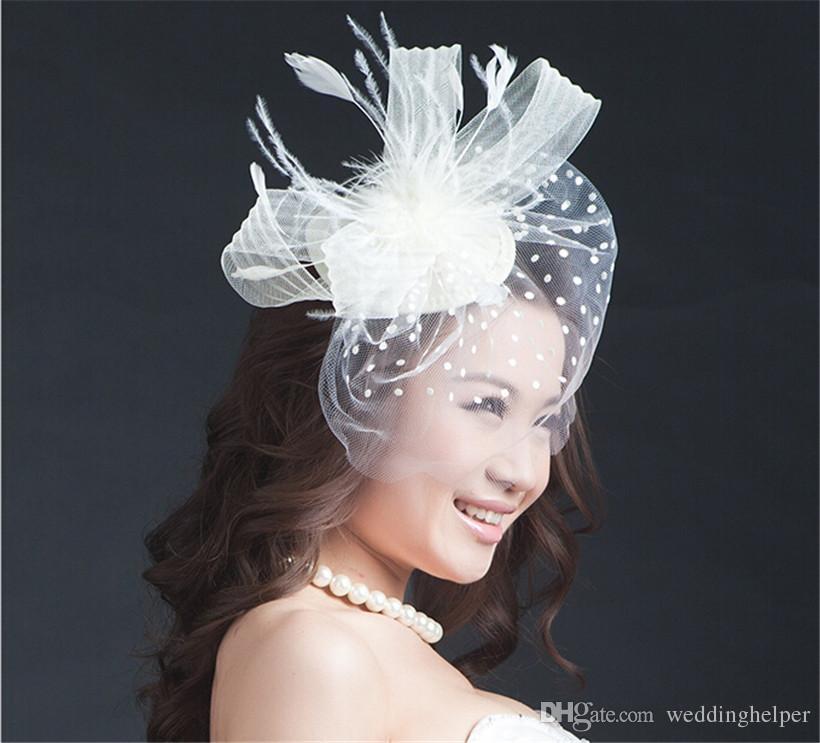 Vintage Wedding Bridal Hat White Pillbox Church Birdcage Veil Cocktail Hair Fascinator Accessories Clips Headdress Jewelry Supplier