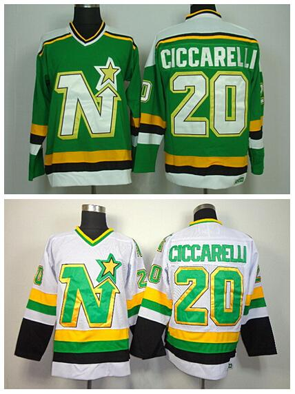 20 Dino Ciccarelli Jersey Dallas Stars Retro Ice Hockey Jerseys For Sport  Fans All Stitched Team Color Green White Dino Ciccarelli Jersey Retro Ice  Hockey ... 22e2d3254cc
