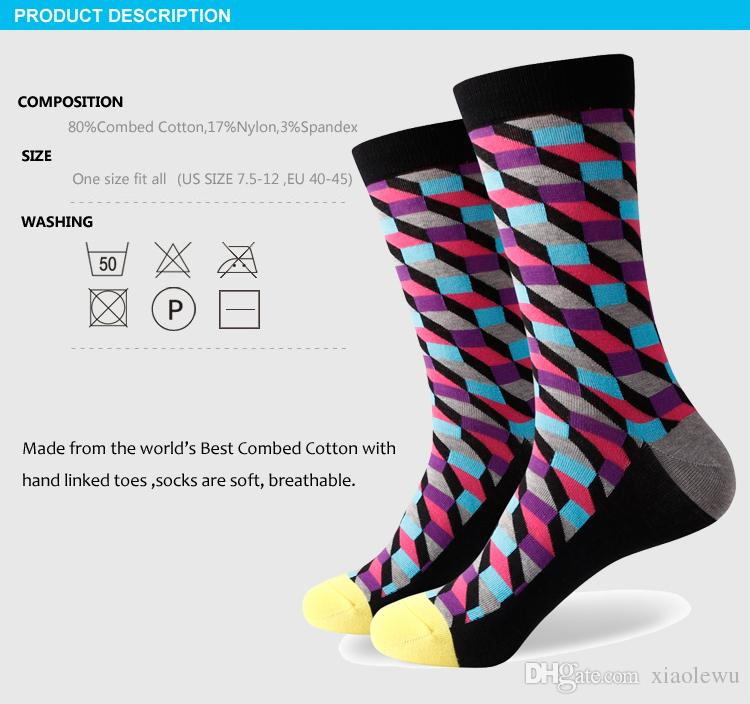 2016 nouveaux hommes colorés chaussettes en coton peigné, chaussettes à carreaux, expédition gratuite, taille US 7.5-12 365