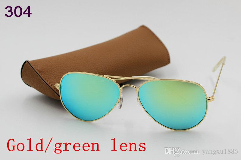 New AAAA high quality fashion designer men ladies vintage Pilot sunglasses gold frame Red flash mirror 58mm lens UV400 protection brown case