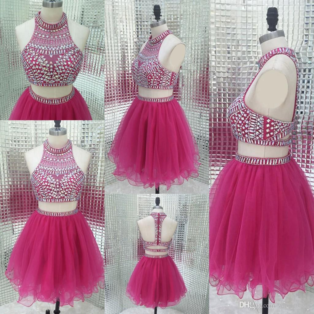 Sparkly Two Piece Homecoming Dresses Vintage Fuchsia Beading Short ...