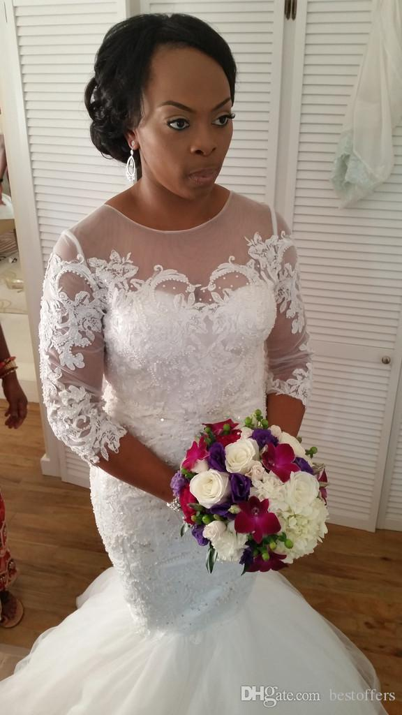 modest mermaid wedding dresses 2017 long sleeve jewel neck arabic
