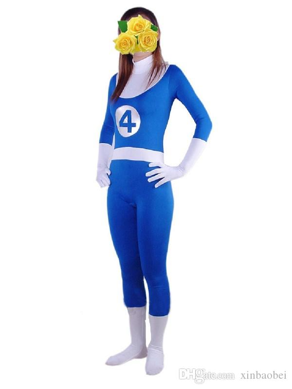Blue Fantastic Four Movie Hero Lycra Zentai spandex costume Halloween costume dress up props, Cosplay