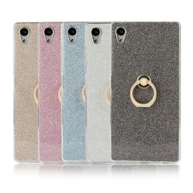 For Sony Xperia Z1 Z2 Z3 Z4 Z5 mini C3 C5 C6 glitter bling TPU soft ultra thin cellphone protective back cover case with finger ring buckle