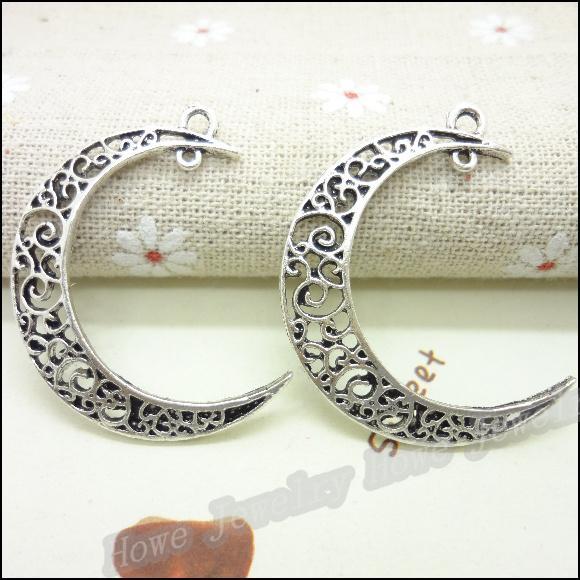32 pcs Vintage Charms Moon Pendant Antique silver Fit Bracelets Necklace  DIY Metal Jewelry Making