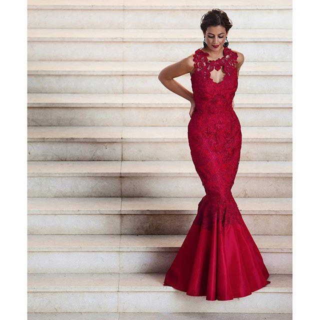 Elegante BUrgundy Rendas Vestidos de Noite 2016 Sereia Prom Vestidos Sexy Backless Apliques de Festa Vestidos Até O Chão Custom Made