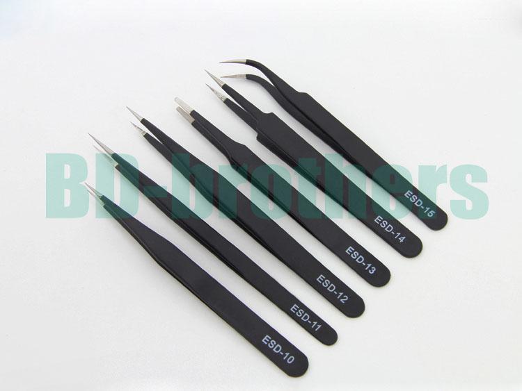 1.5mm schwarze antistatische Edelstahl-Pinzette ESD 10 11 12 13 14 15 ohne Kleinpaket für Telefon-Reparatur-Reparatur-Werkzeuge /