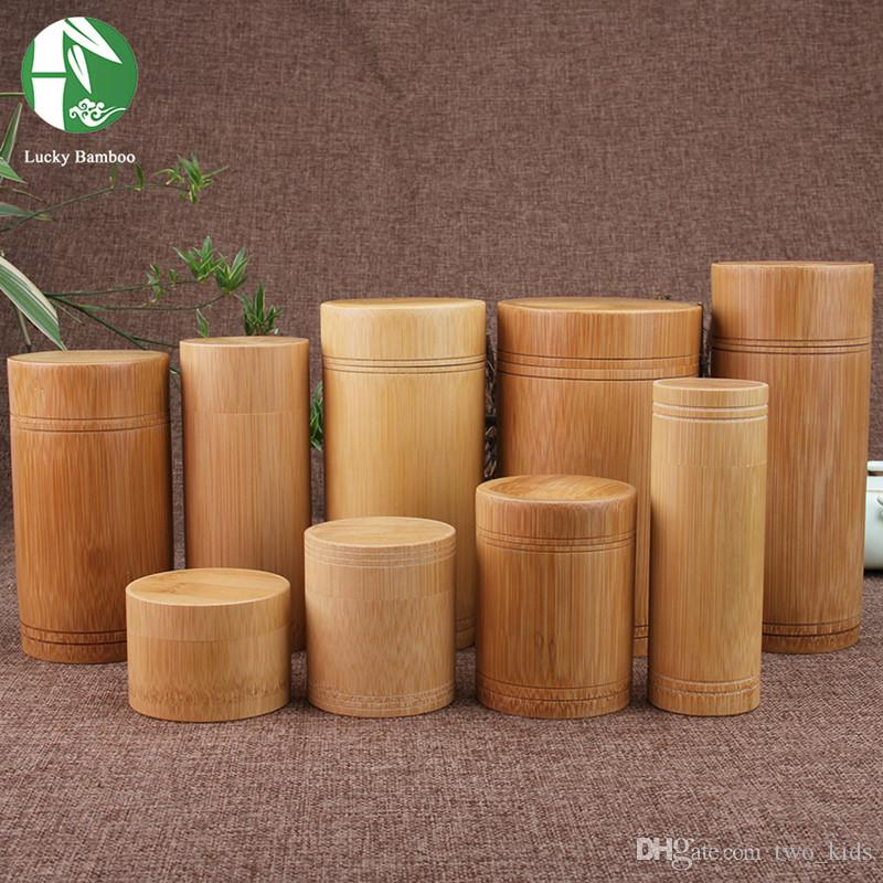 Wholesale   Handmade Tea Box Bamboo Storage Boxes, 9 Style Tea Canister  Eco Friendly Seal Kitchen Storage Jars Fashion Kitchen Accessories Tea Box  Storage ...