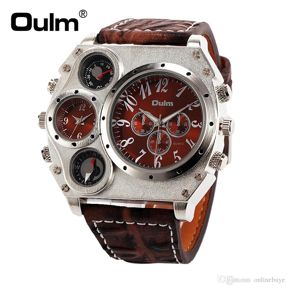 f54924f6577 Oulm 1349 Men S Dual Movement Sports Military Watch With Compass    Thermometer Decoration Black Dial Big Size 5.8cm Diameter Relogio Wrist  Watch Online Buy ...
