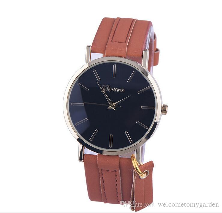 NEW GENEVA Restrostyle Simple style quartz watch real leather belt with pendant for both male and female