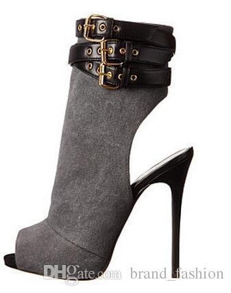 Vente chaude En Daim Peep Toe Sandales Bottes Triple Sangle Boucle Bottines Bottes À Talons Hauts Embellies Femmes Bottes Pompes Chaussures