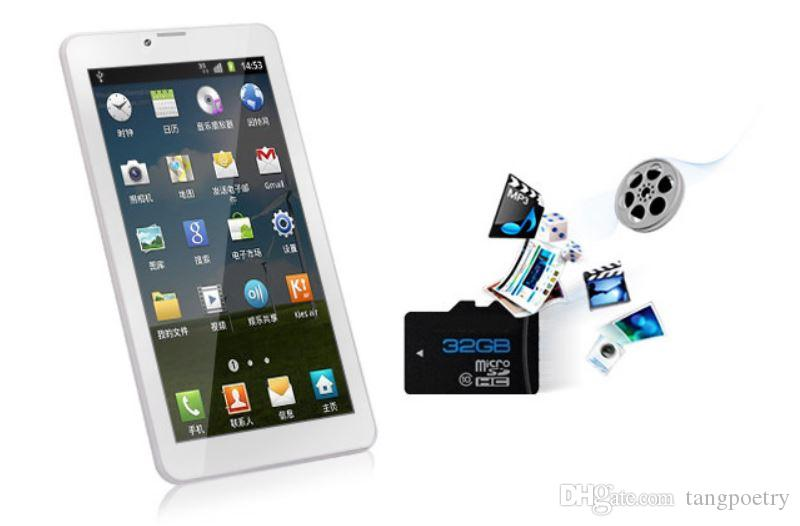 7 inch 3G Phablet Android 4.4 MTK6572 Dual Core 4GB Dual SIM GPS Phone Call WIFI Tablet PC With Bluetooth