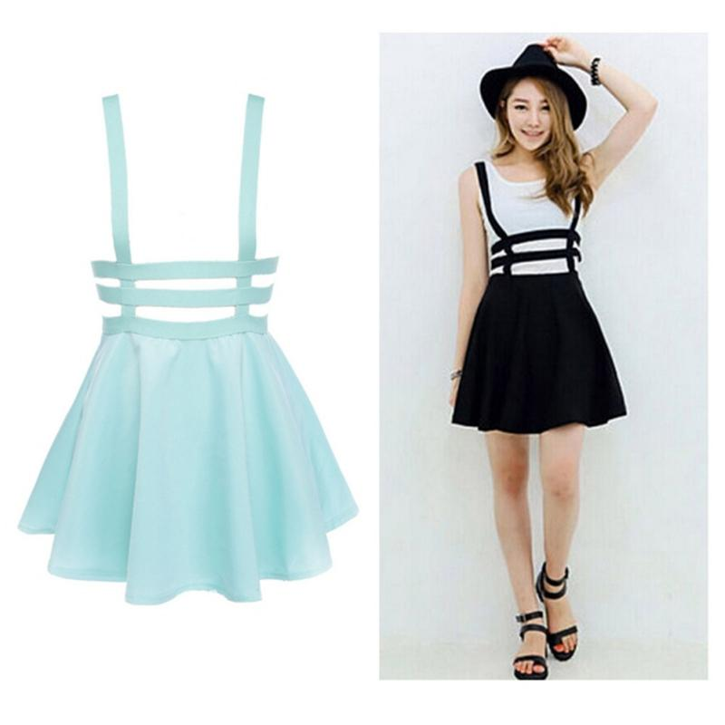 2974cd1a5e 2019 Wholesale New Retro Women Hollow Mini Skater Skirt Summer Cute  Suspender Clothes Straps High Waist Skirts Black White From Bevarly