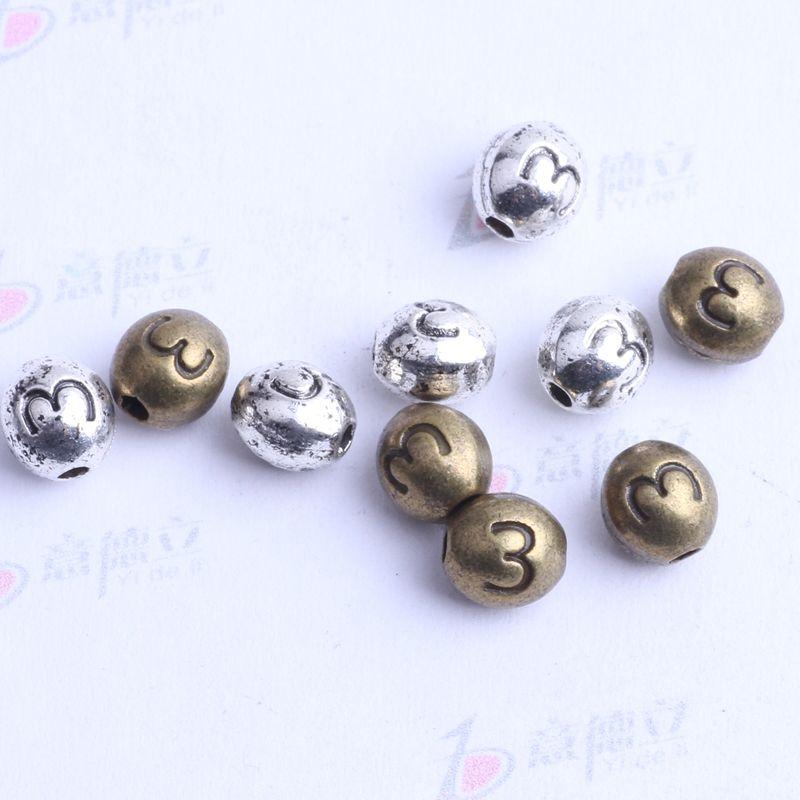 Numéro 3 perles ovales charme antique argent / bronze en alliage de zinc pour pendentif bricolage fabrication de bijoux accessoires 2441