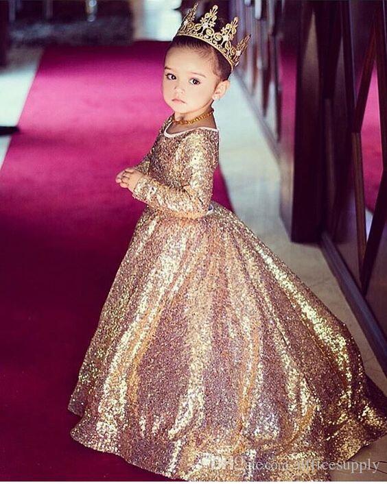 Prickelnde gold pailletten kleine prinzessin langen ärmeln mädchen festzug kleid vintage party blumenmädchen hübsches kleid für kleine kleinkind kind