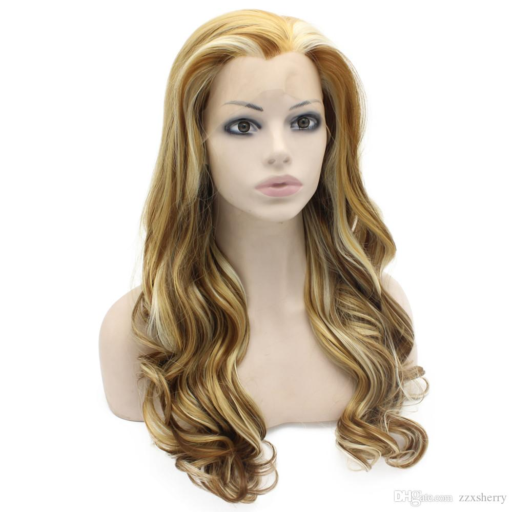 Long Wavy Highlight Blonde Heat Friendly Fiber Hair Lace Front Wig Natural
