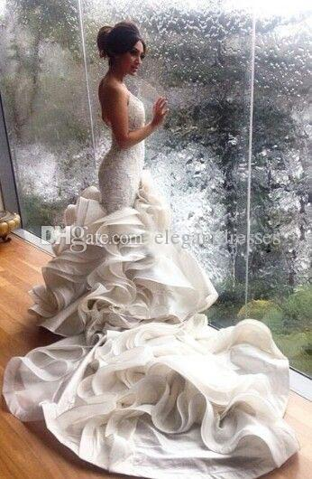 Vestido De Novia Sweetheart beaded Lace Ruffles Mermaid wedding Dress Sleeveless backless trumpet Bridal Gowns 2018 berta cheap