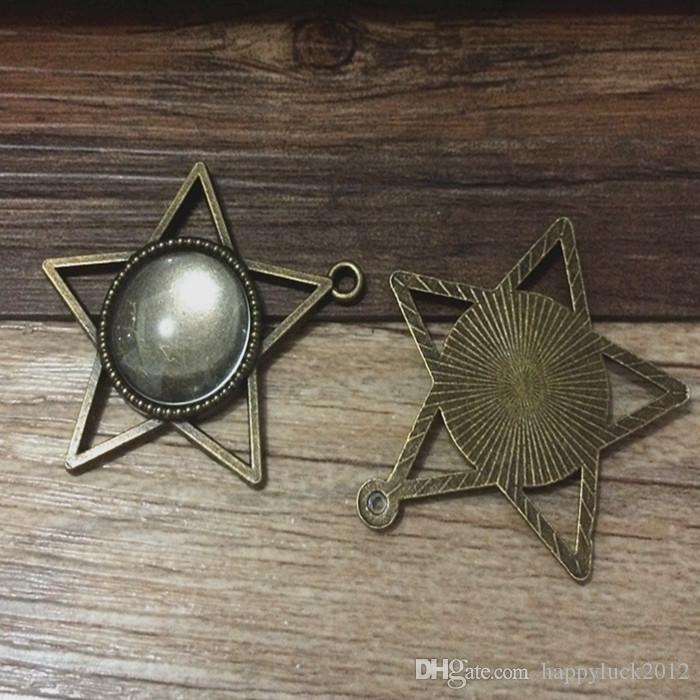 / Mixte style 10 style Diy Bronze Ronde pendentif base Camée Cabochon Base Réglage Collier Penand Pour Jewlery Fabrication 18 * 18mm