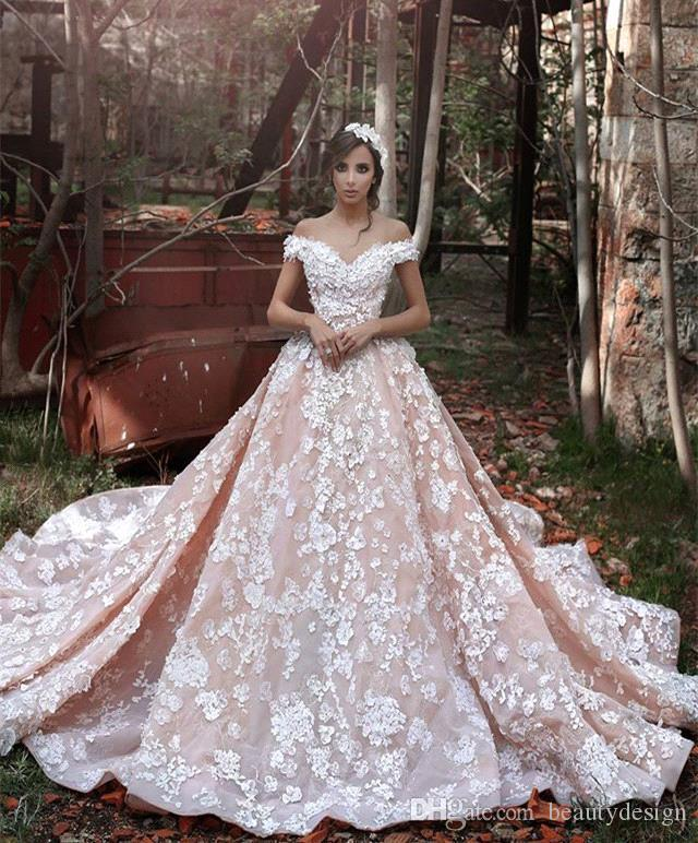 2019 Plus Size Dreaming Goddess Ball Gown Wedding Dresses 3D Flora Appliques Sheer Back Off-shoulder Luxury Romance Bridal Gowns Custom Made