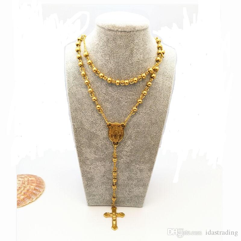 Fashion Jewelry Stainless Steel Rosary Necklace Virgin Cross of Jesus Pendant Necklaces Heavy Gold Plated Men Hip Hop Men Jewelry