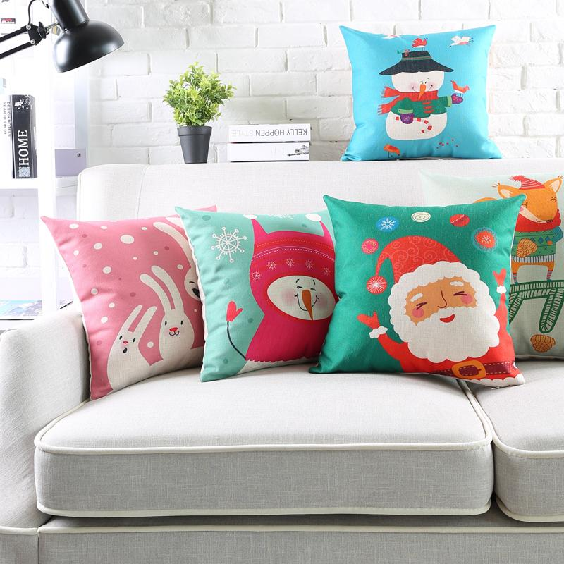 christmas cushion covers decorative pillow case vintage linen snowman x max tree fox pillow cover 45cm 45cm 60x 60cm 30x 50cm contour neck pillow unique - Christmas Decorative Pillow Covers