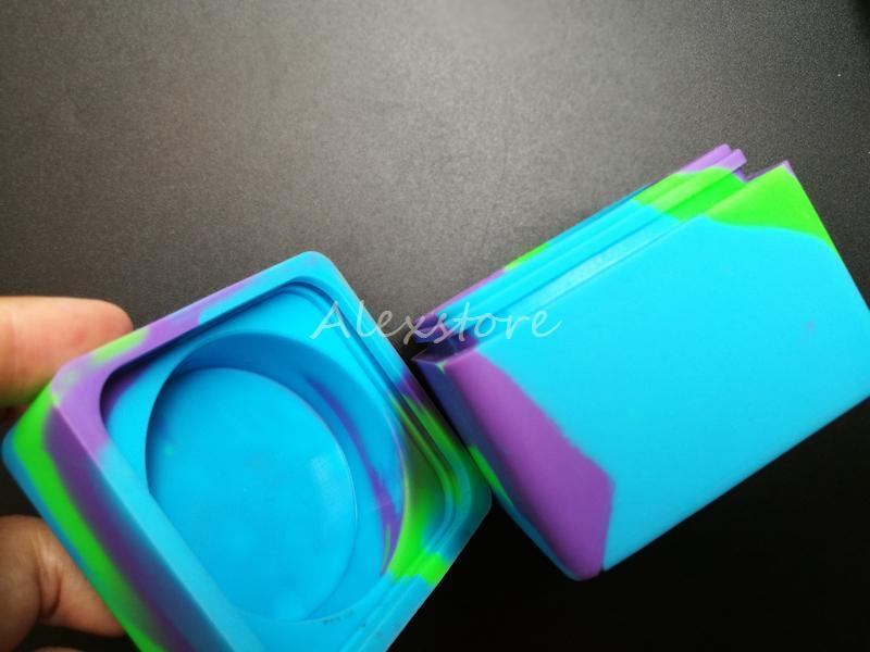 Recipientes de Cera antiaderente Silicone Box 60 ml Recipiente de Silicone Grande Quadrado Frascos de Cerâmica de Grau Alimentício Dab Dabber Ferramenta Grande Jar Titular de Óleo para Vape
