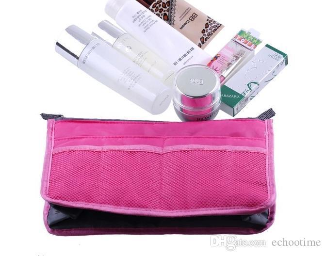Echootime es dual en bolso de las mujeres bolso del or Insertar maquillaje del caso del almacenaje del trazador de líneas bolso ordenado viajan el Bolsas de almacenamiento