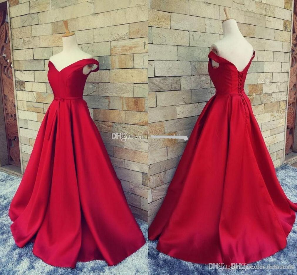 Simple Red Long Formal Dresses